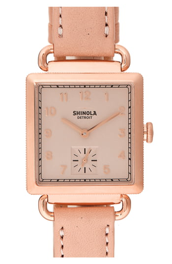 Shinola The Cass Pvd Rose Gold & Leather Strap Watch In Nude/ Gold