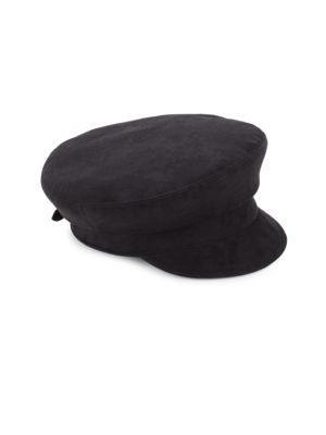 Eric Javits Night Porter Microfiber Suede Cap In Black