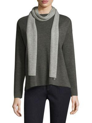 Eileen Fisher Reversible Cashmere And Wool Scarf In Grey