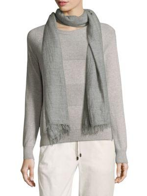 Peserico Chambray Frayed Scarf In Grey
