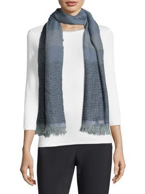 Peserico Fringed Sparkle Scarf In Blue