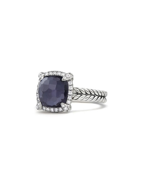 David Yurman Chatelaine® Pave Bezel Ring With Black Orchid And Diamonds, 9Mm In Purple/Gray