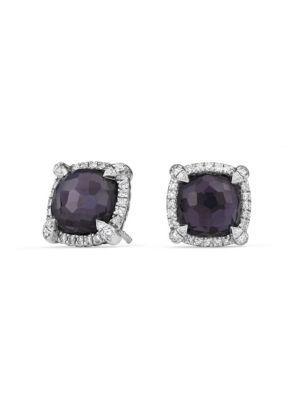 David Yurman ChÂTelaine® Gemstone & Diamond PavÉ Bezel Earrings In Silver