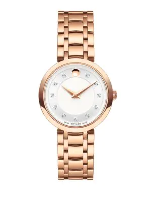 Movado 1881 Diamond & Rose Goldtone Stainless Steel Bracelet Watch In Rose Gold/ Silver/ Rose Gold