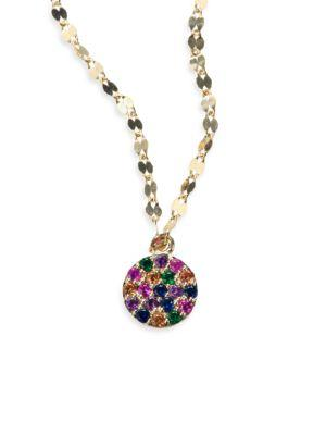 Lana Girl Multicolor Sapphire Circle Necklace In Yellow Gold