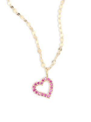 Lana Girl Mini Heart Pink Sapphire Pendant Necklace In Yellow Gold