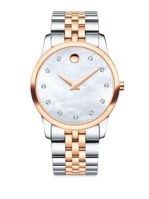 Movado Museum Classic Diamond, Mother-Of-Pearl, Rose Gold & Stainless Steel Link Bracelet Watch In Silver-Rose Gold