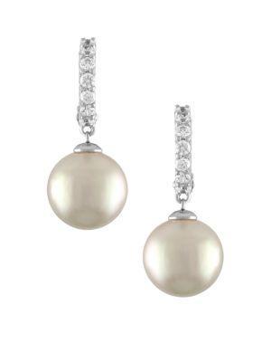 Majorica 12Mm Pearl Hoop Earrings In Silver