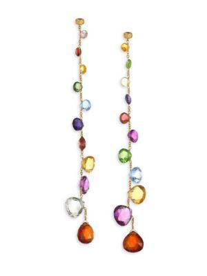 Marco Bicego Paradise Mixed Elevated Gemstones Graduated Long Earrings In Yellow Gold