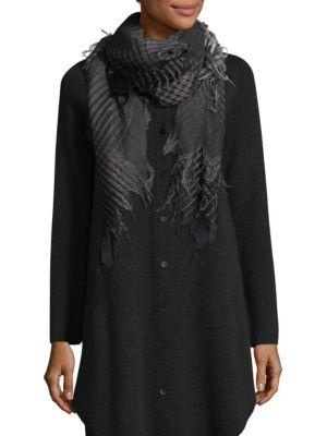 Eileen Fisher Wool-Blend Sparkle Check Square Scarf In Charcoal