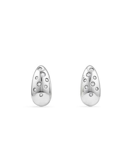 David Yurman 15Mm Pure Form Earrings With Diamonds In White/Silver