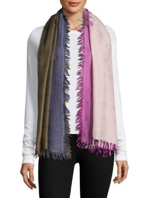 Bajra Checkerboard Wool & Silk Scarf In May Pink