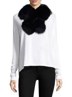 Surell Two-Tone Fox Fur Pull-Through Scarf In Black