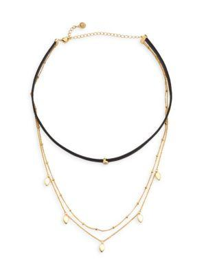 Jules Smith Theo Chain Layered Choker In Gold/ Clear/ Black