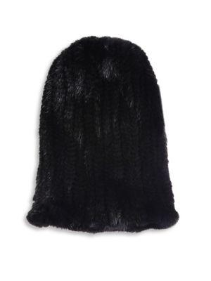 Surell Mink Fur Slouch Beanie In Black