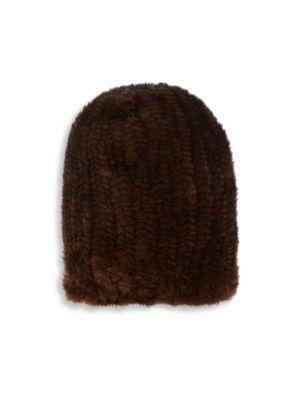 Surell Knit Mink Fur Slouch Beanie In Brown