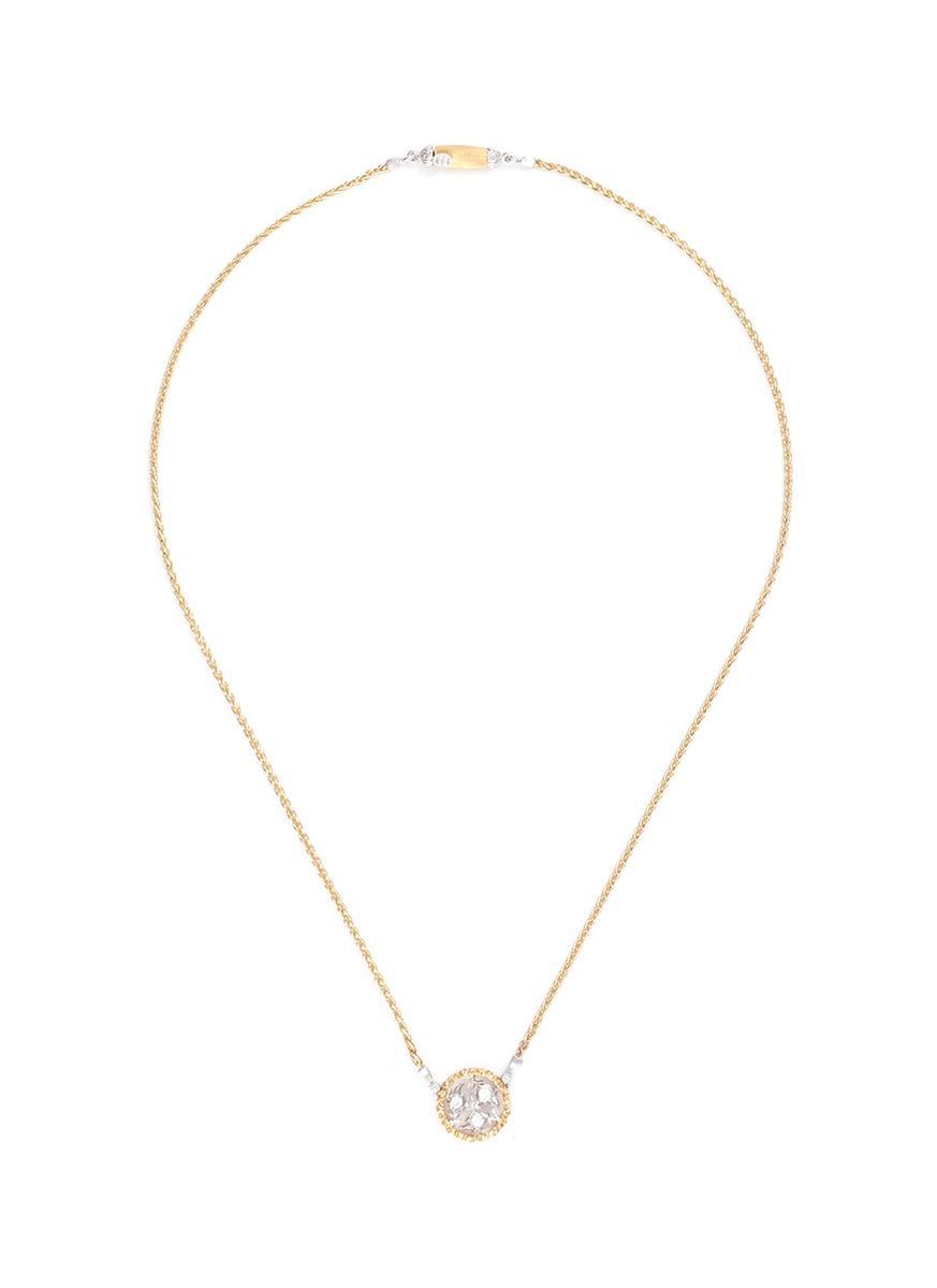 Buccellati 'Ramage' Diamond 18K Yellow And White Gold Pendant Necklace
