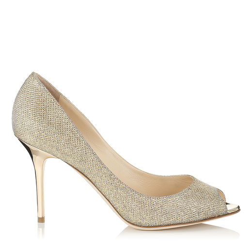 Jimmy Choo Evelyn 85 Gold LamÉ Glitter Fabric Peep Toe Pumps
