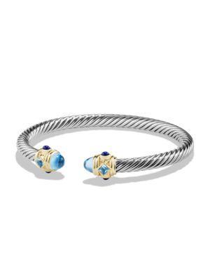 David Yurman Renaissance Bracelet With Gemstones And 14K Gold In Blue Topaz