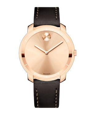 Movado Mid-Size  Bold Crystal Leather-Strap Watch In Dark Brown-Rose Gold
