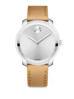 Movado Mid-Size  Bold Crystal Leather-Strap Watch In Beige-Silver