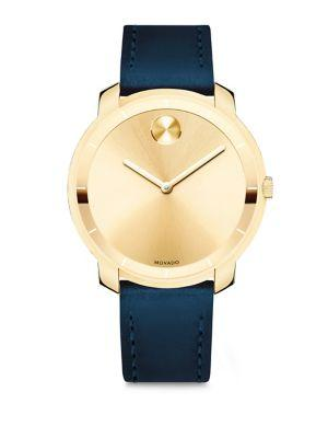 Movado Mid-Size  Bold Crystal Leather-Strap Watch In Navy-Yellow Gold
