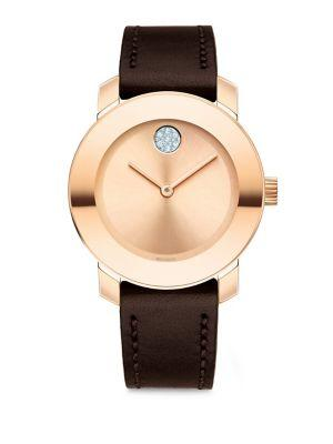 Movado Bold Stainless Steel Analog Leather Strap Watch In Black-Rose Gold