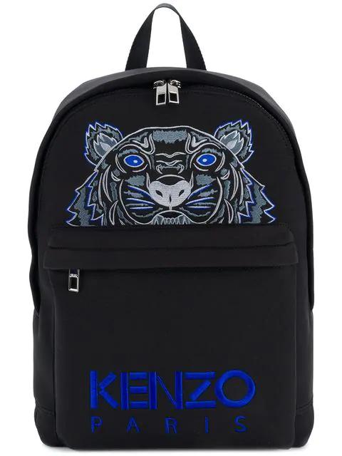 Kenzo Tiger Embroidered Neoprene Backpack In Black