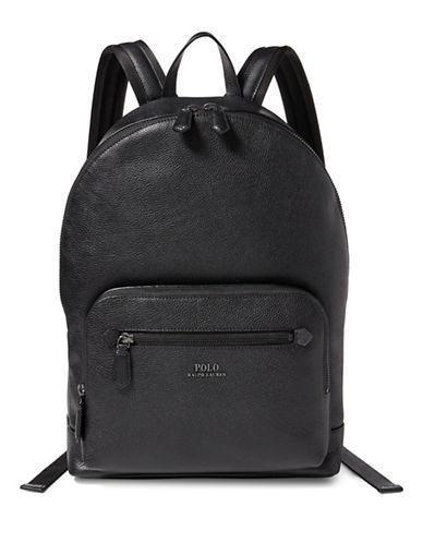 Polo Ralph Lauren Pebbled Leather Backpack-Black