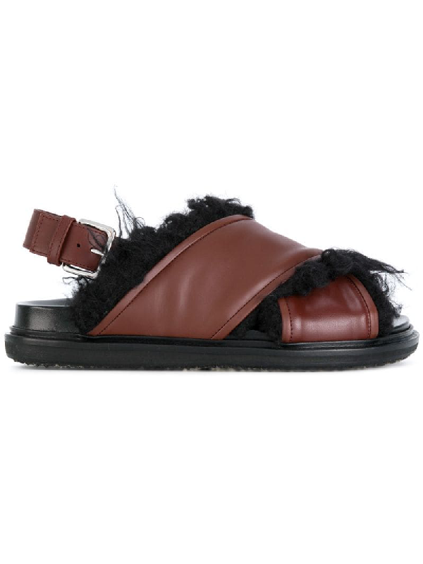 Marni Faux-Fur Lined Leather Sandals In Brown