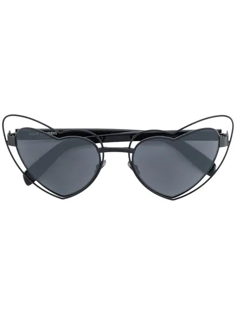 Saint Laurent Loulou Heart-Shaped Metal Sunglasses In Black