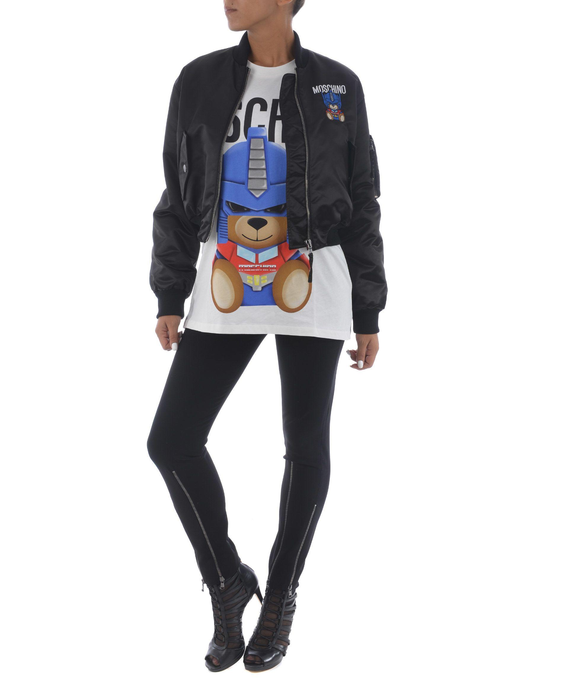 Moschino Transformer Bear Patched Bomber In Nero