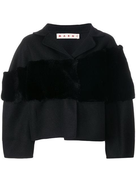 Marni Cropped Stole Stripe Jacket In Black