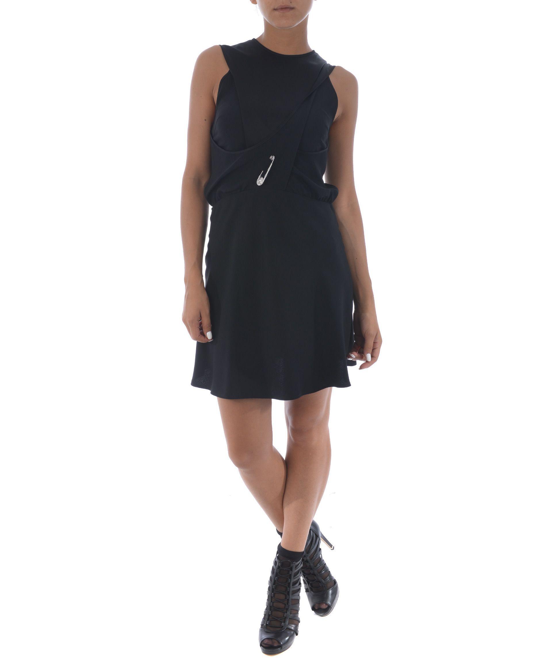 Versus Safety Pin Sleeveless Dress In Nero