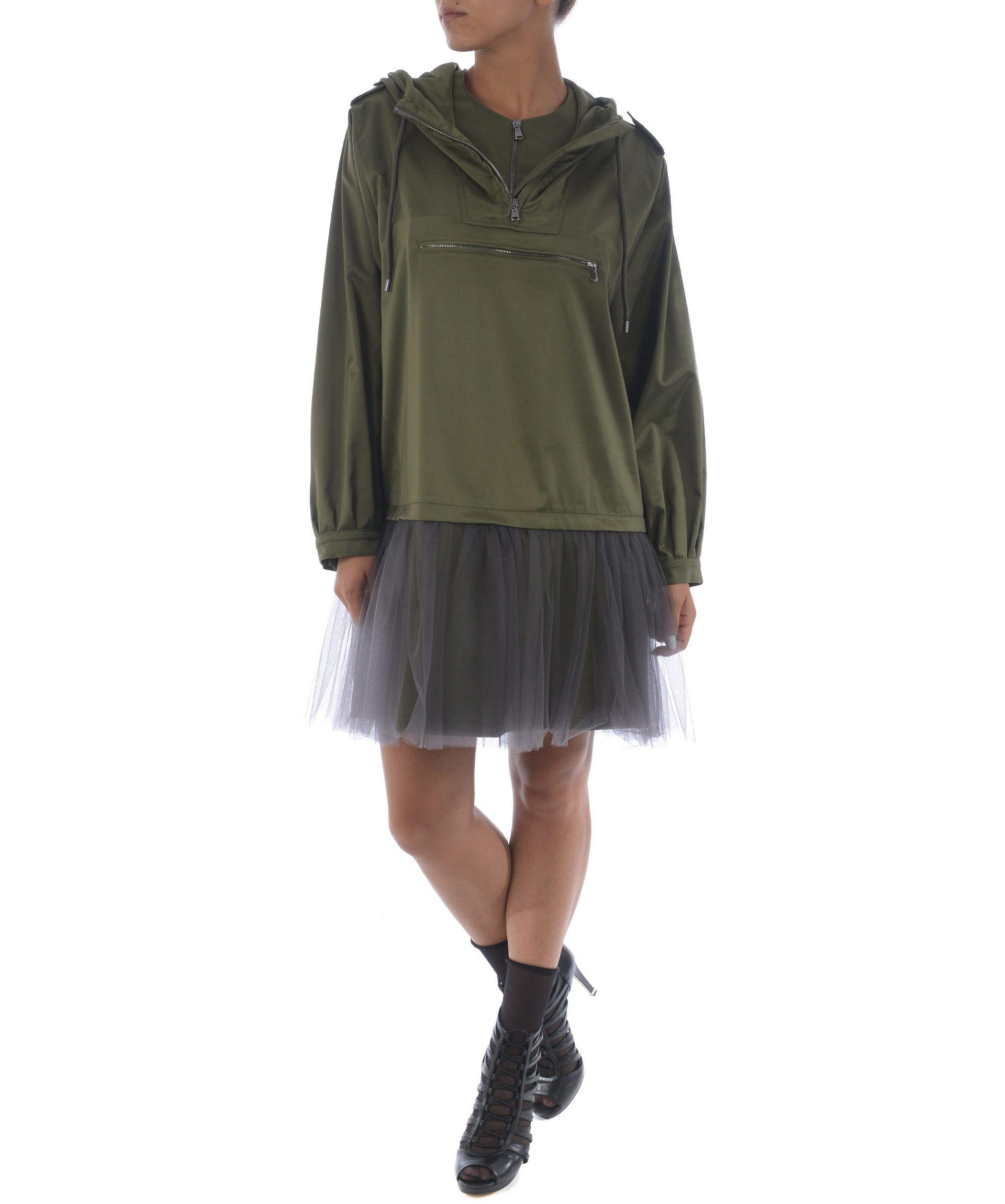 Moschino Tulle Layer Hoodie Dress In Verde Militare