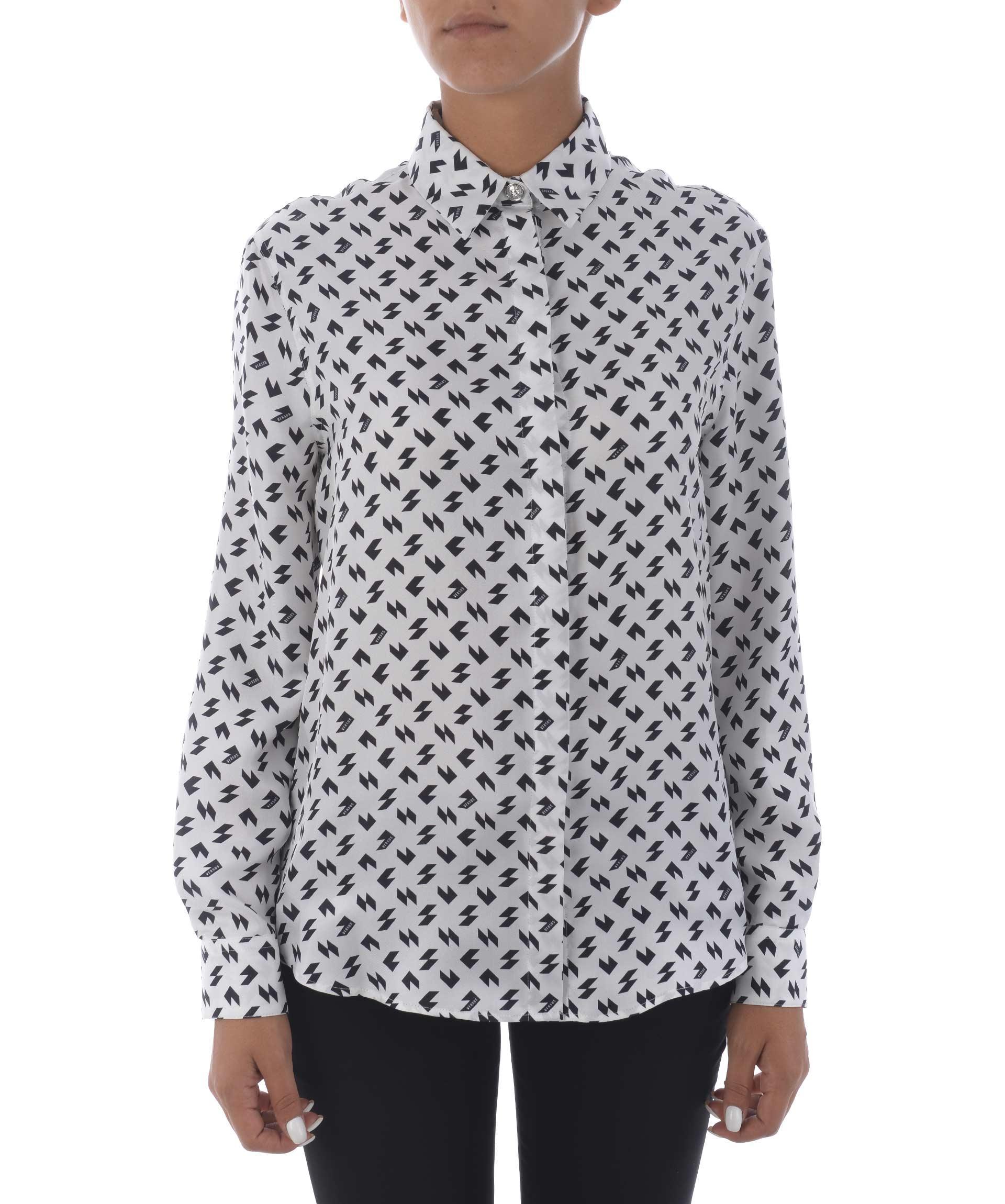 Versus Printed Shirt In Bianco/Nero