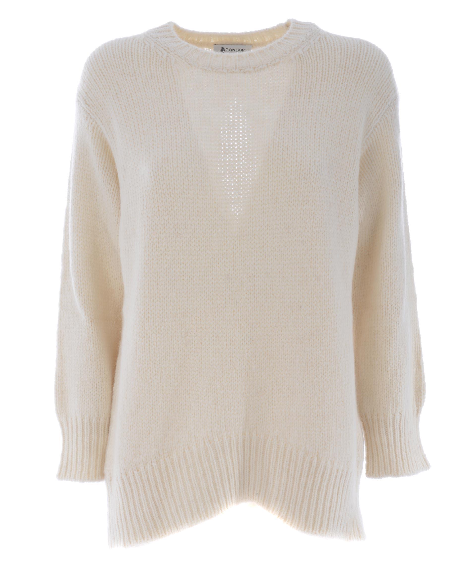 Dondup Open Rear Sweater In Panna