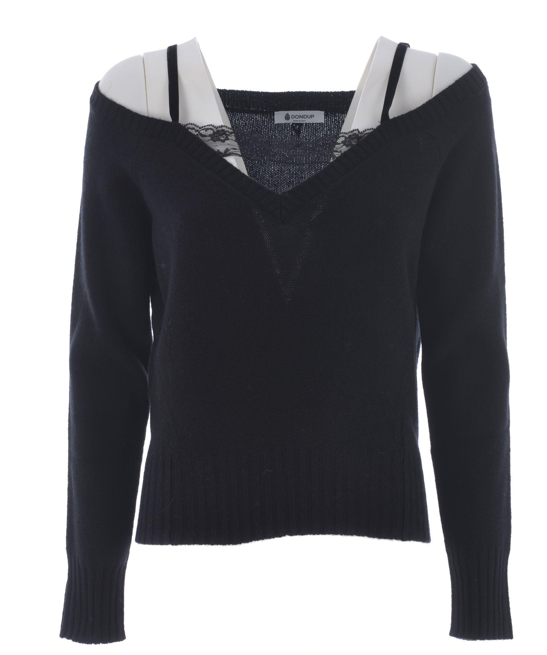 Dondup Off Shoulder Knitted Top In Nero