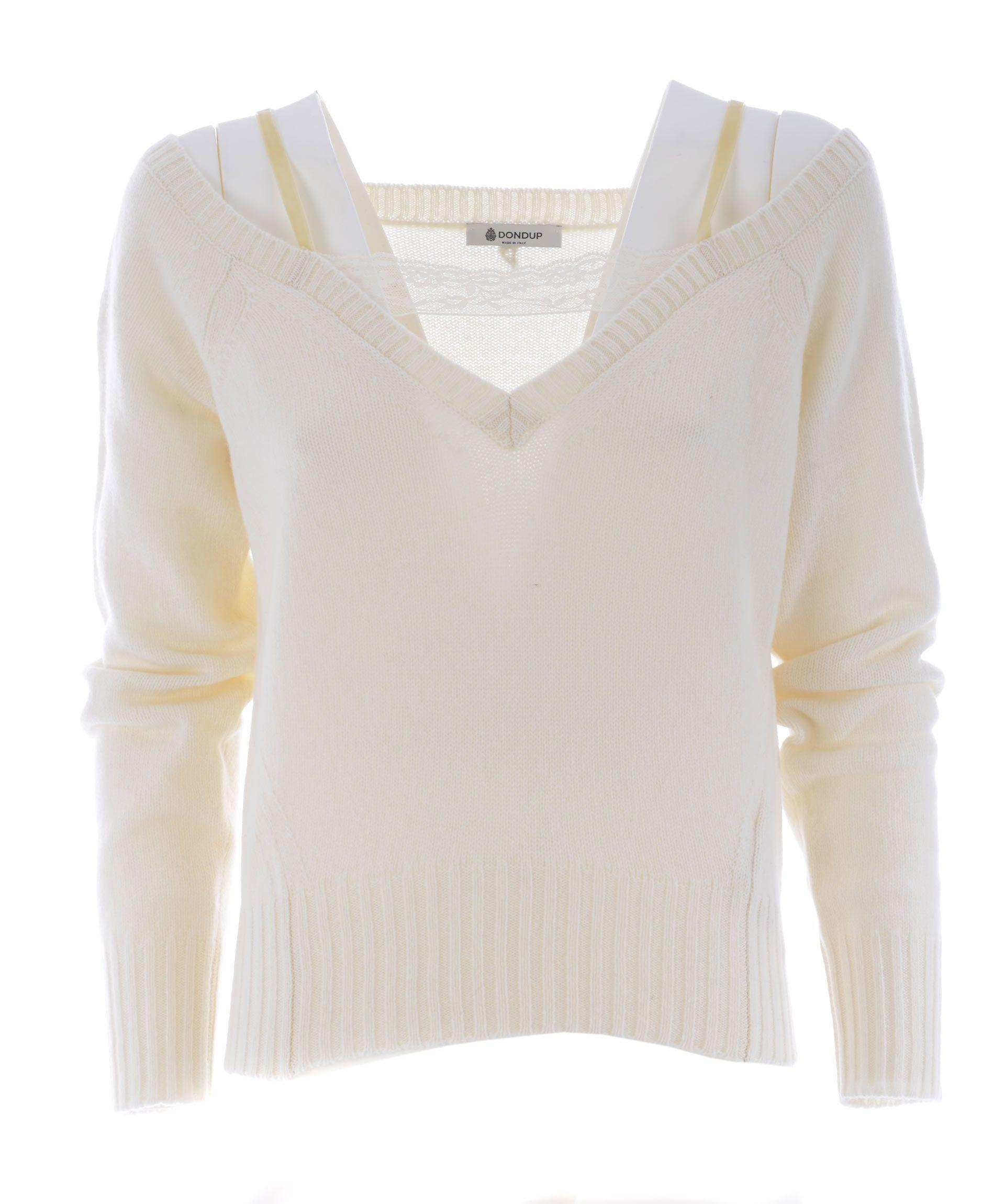 Dondup Off Shoulder Knitted Top In Panna