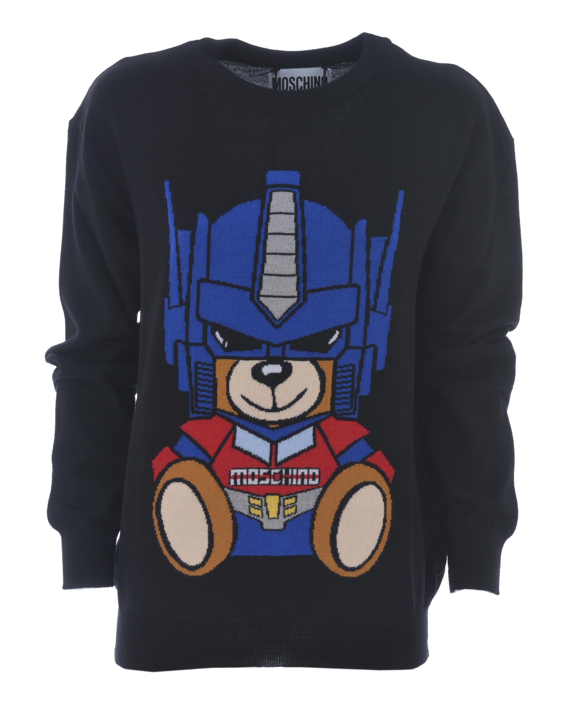 Moschino Transformer Bear Jumper In Nero