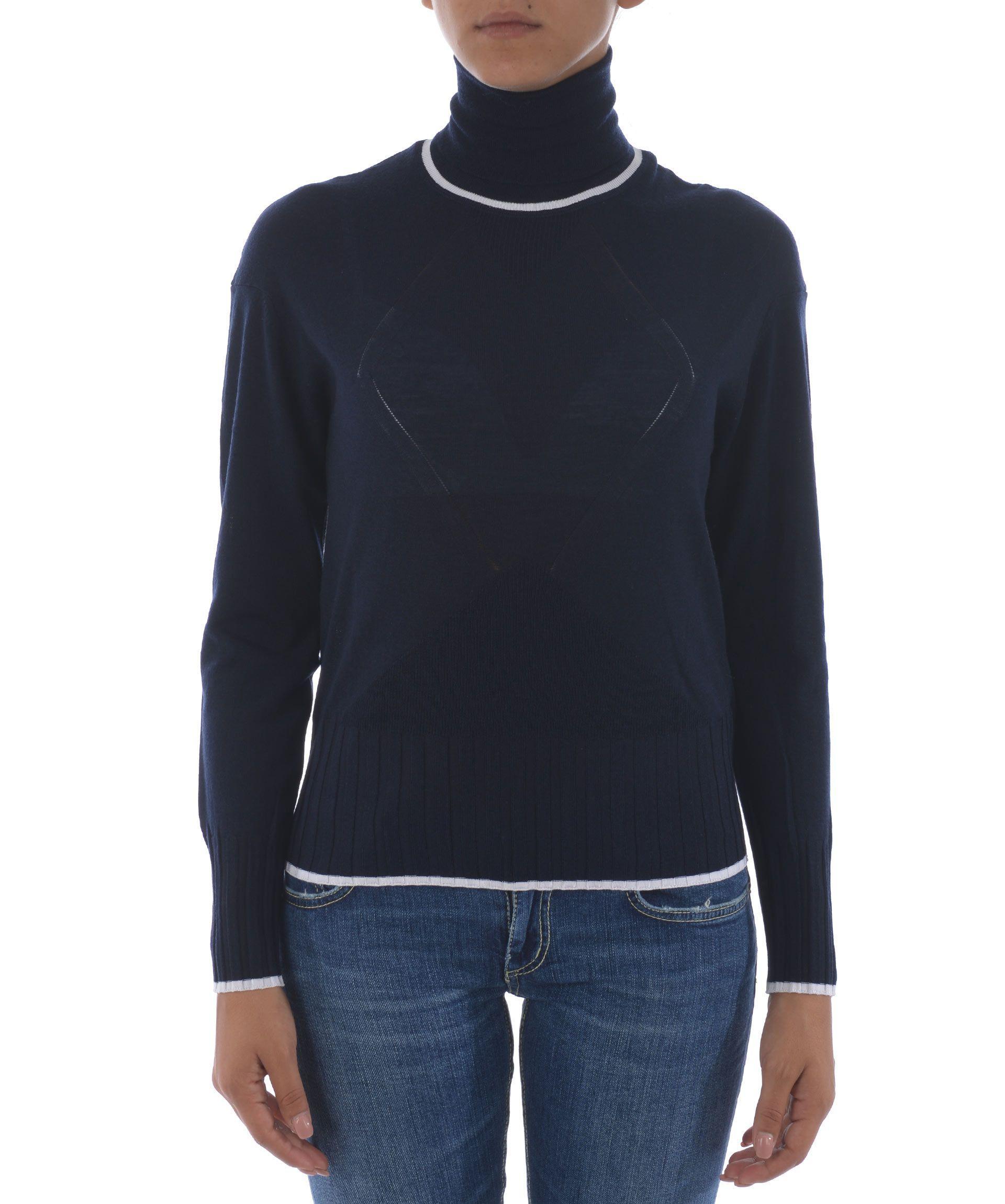 Kenzo Roll Neck Sweater In Blu Scuro