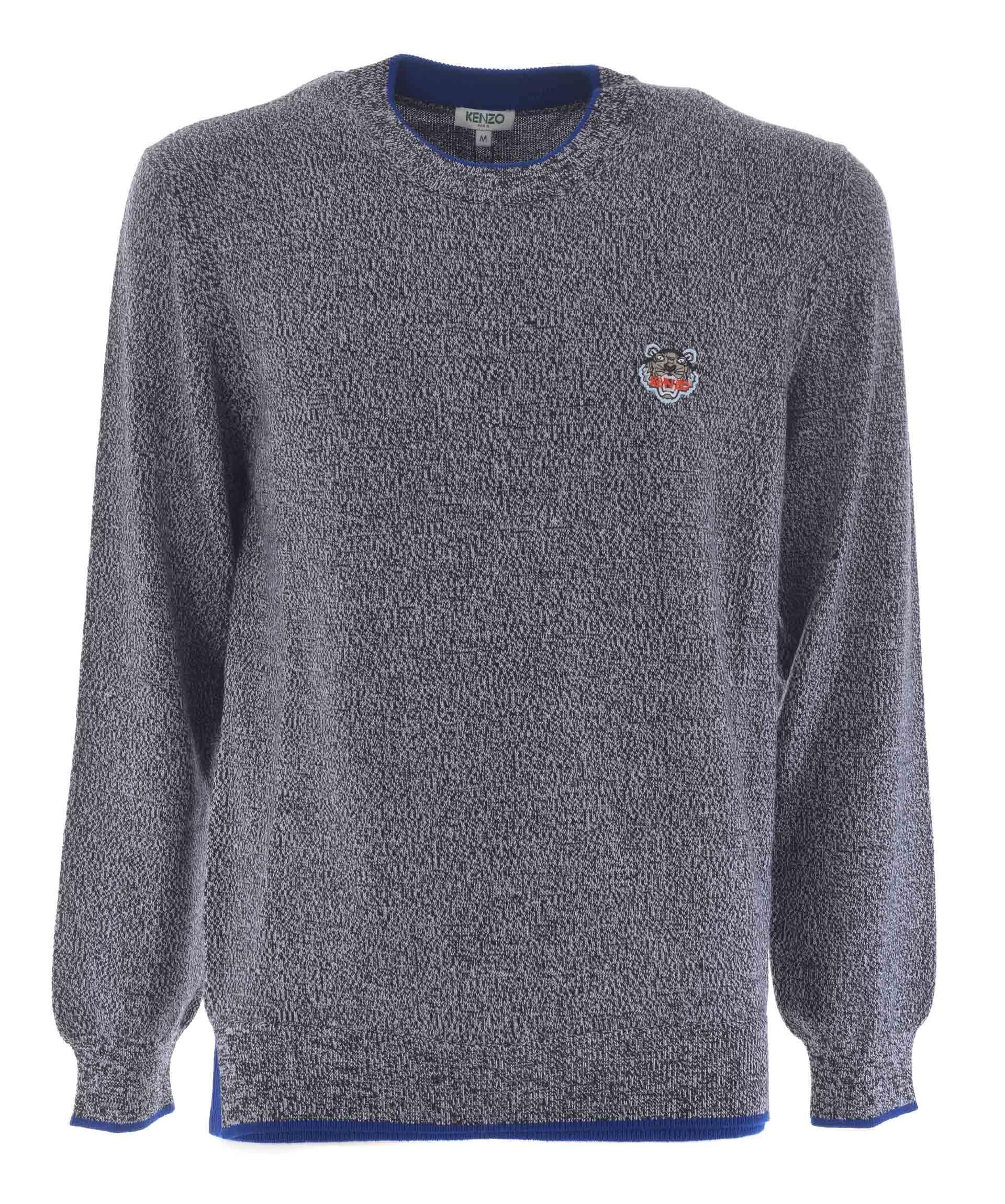 Kenzo Tiger Crest Sweater In Grigio Scuro Melange