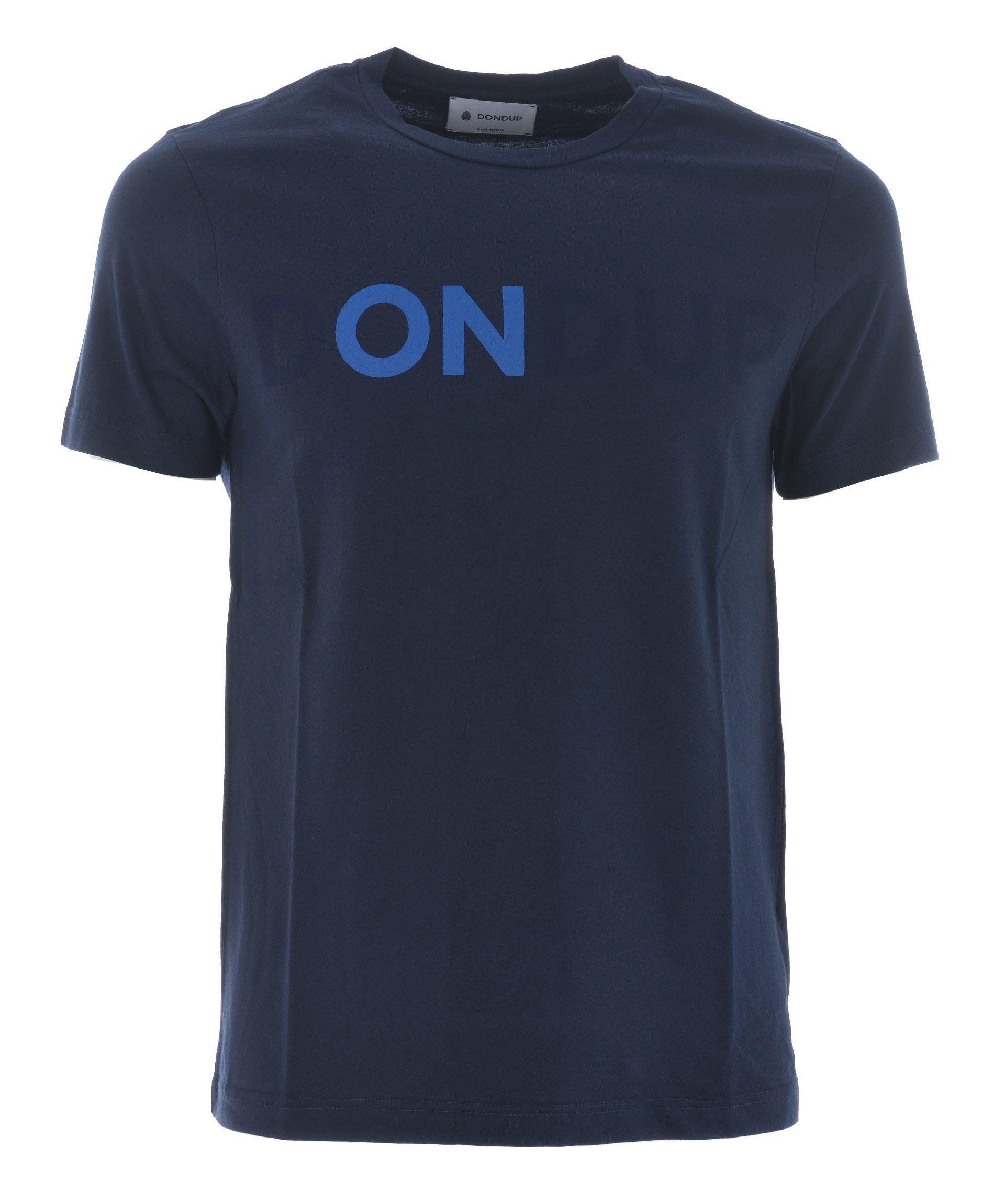 Dondup Logo Print T-Shirt In Blu Scuro