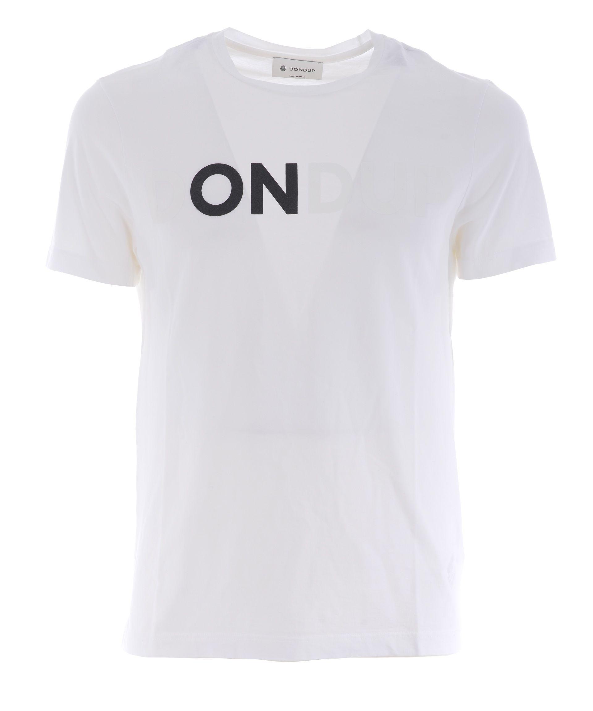 Dondup Logo Print T-Shirt In Bianco