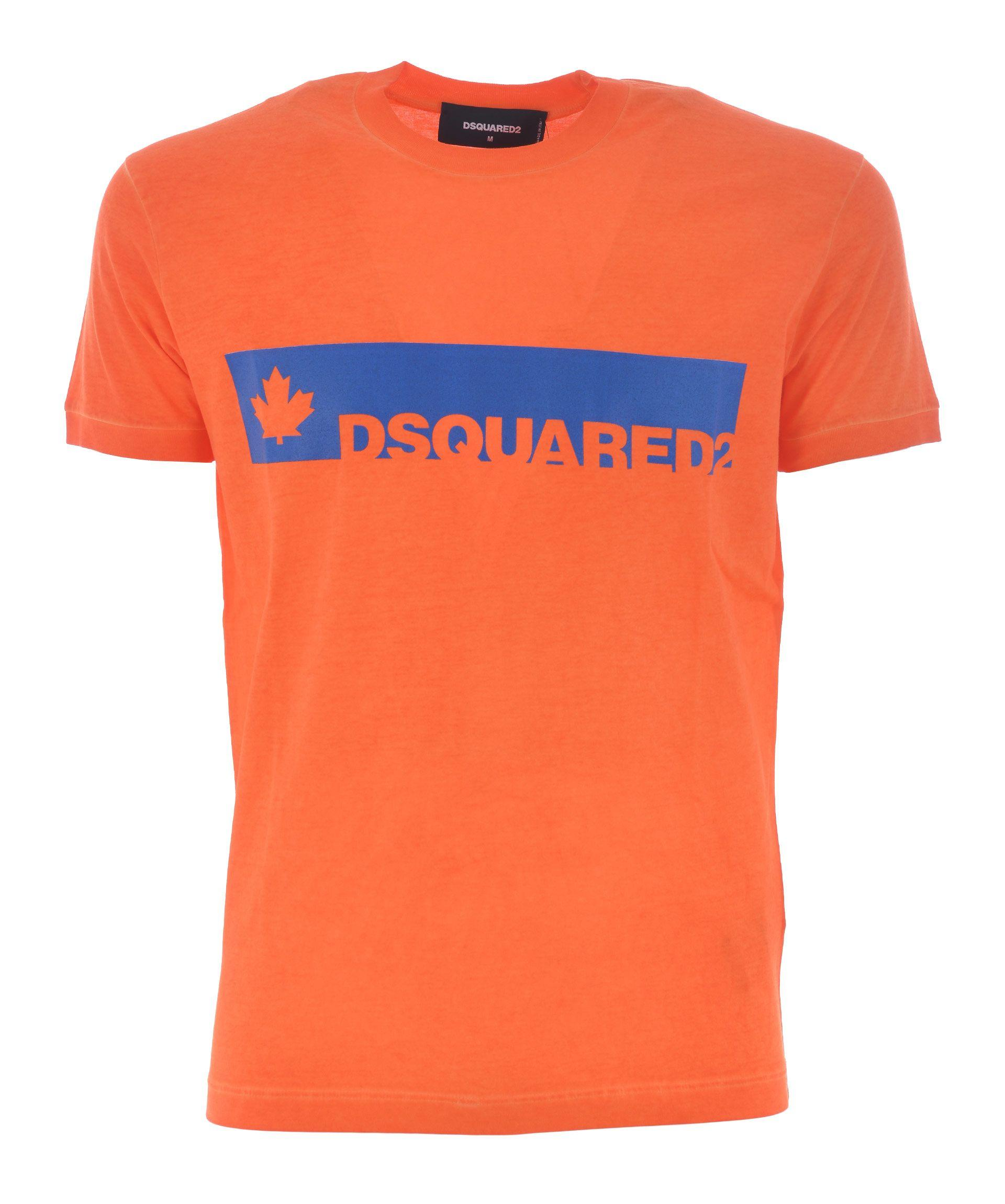 Dsquared2 Teal Logo T-Shirt In Arancio