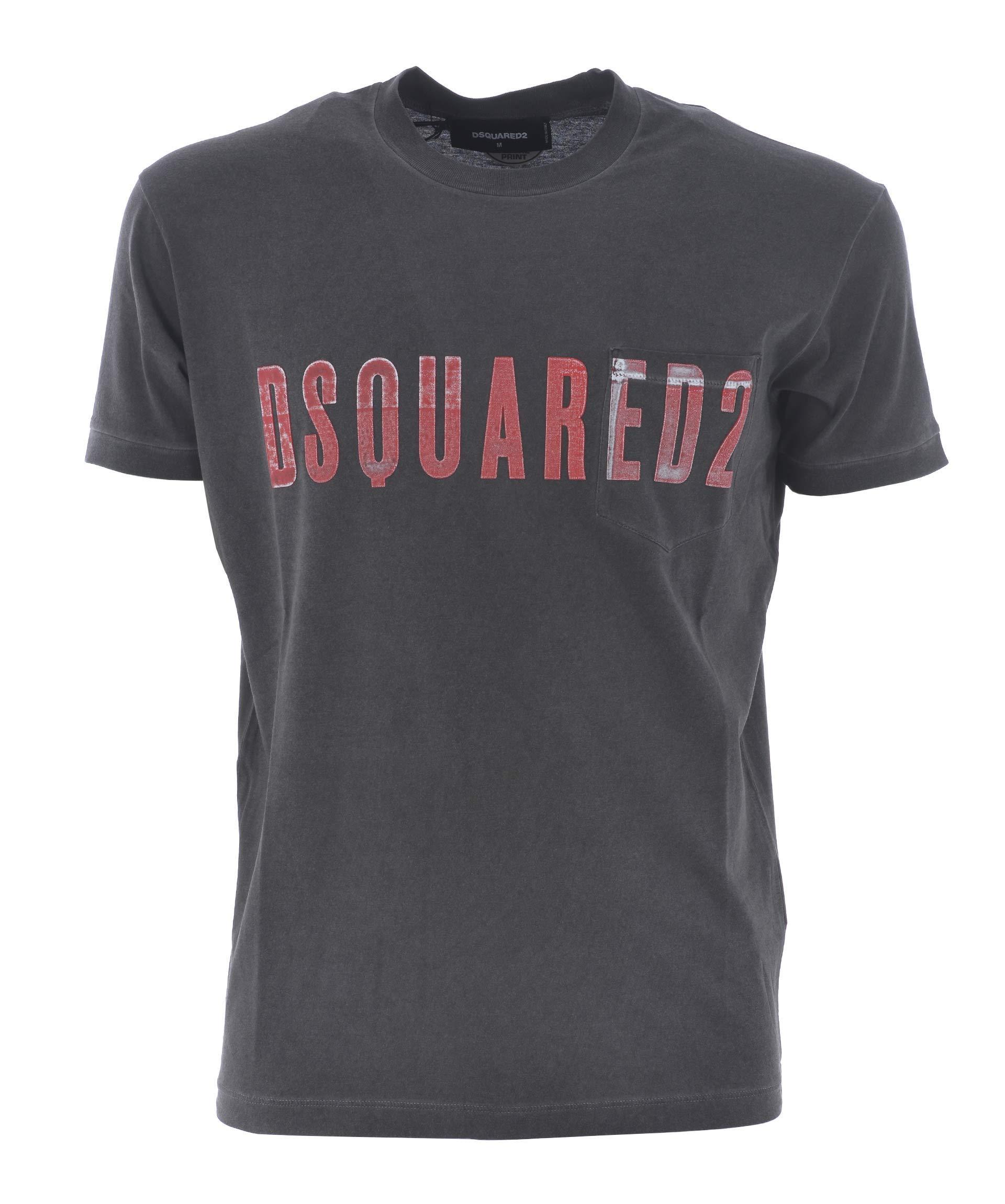 Dsquared2 Logo Printed T-Shirt In Grigio Scuro