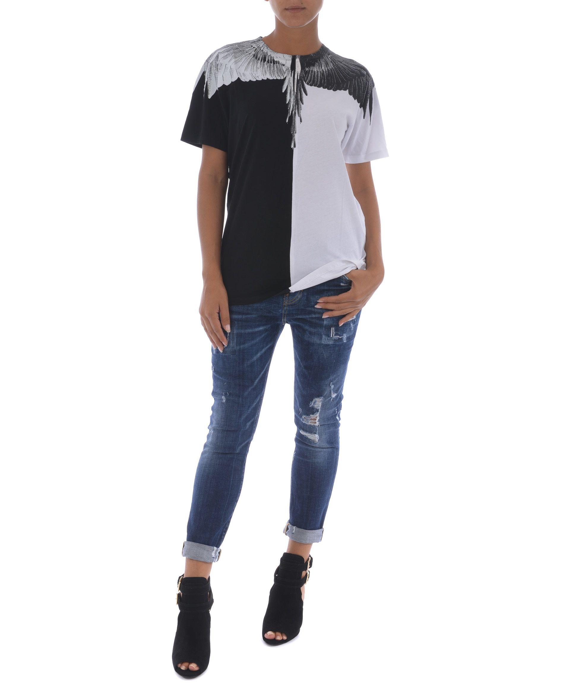 Marcelo Burlon County Of Milan White Cotton T-Shirt In Nero-Bianco