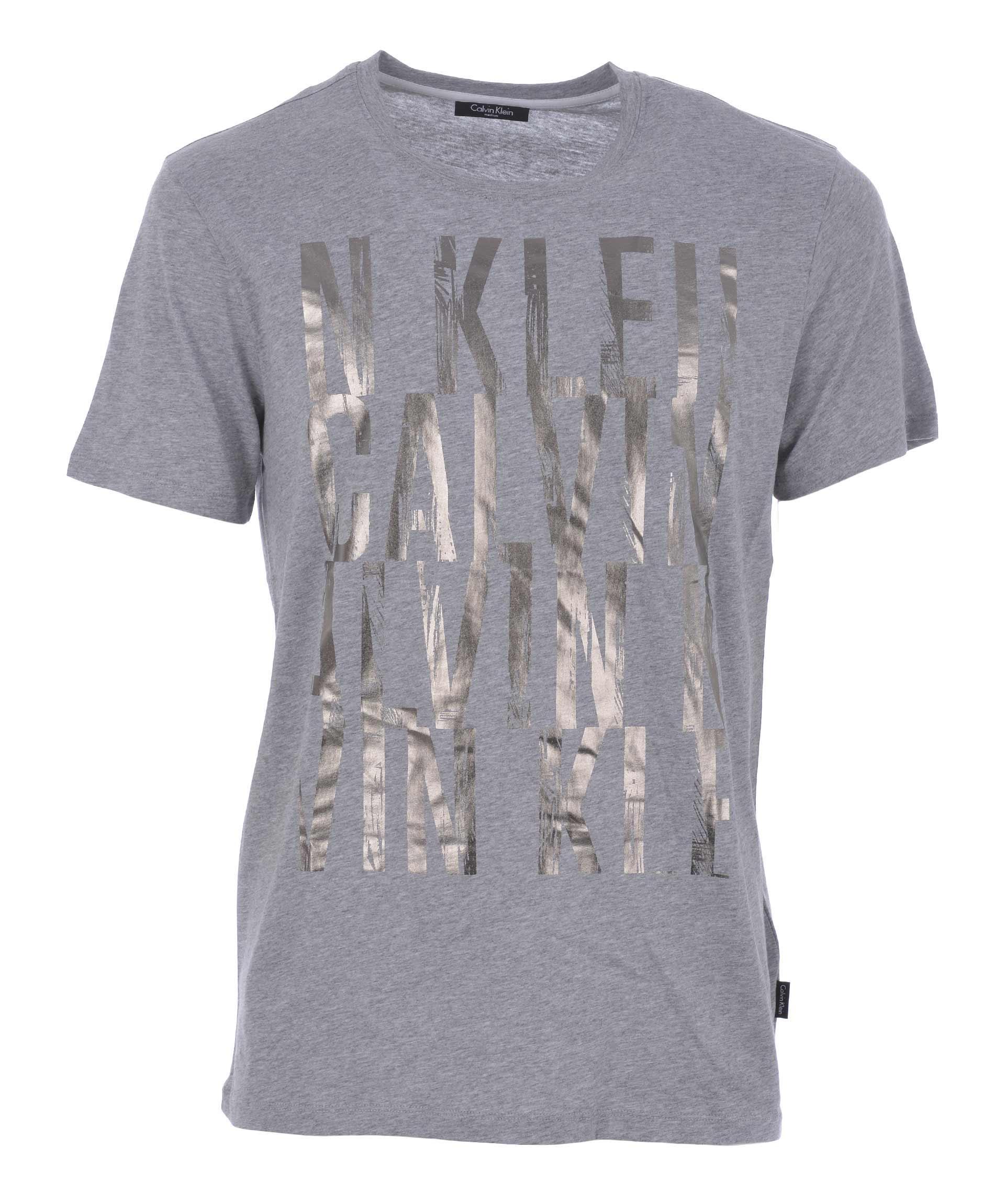 Calvin Klein Printed T-Shirt In Grigio Melange