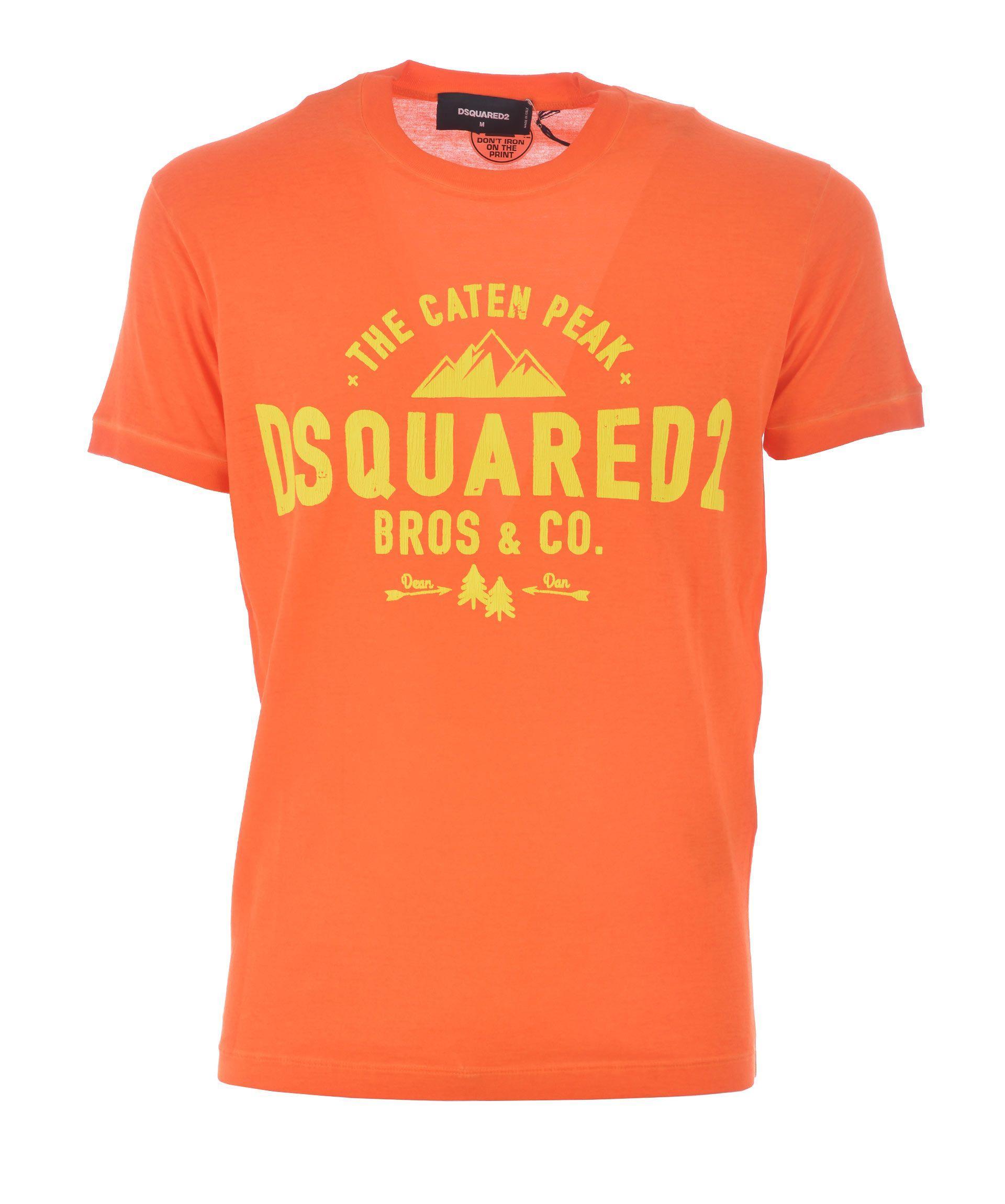 Dsquared2 Caten Peak Printed T-Shirt In Arancio