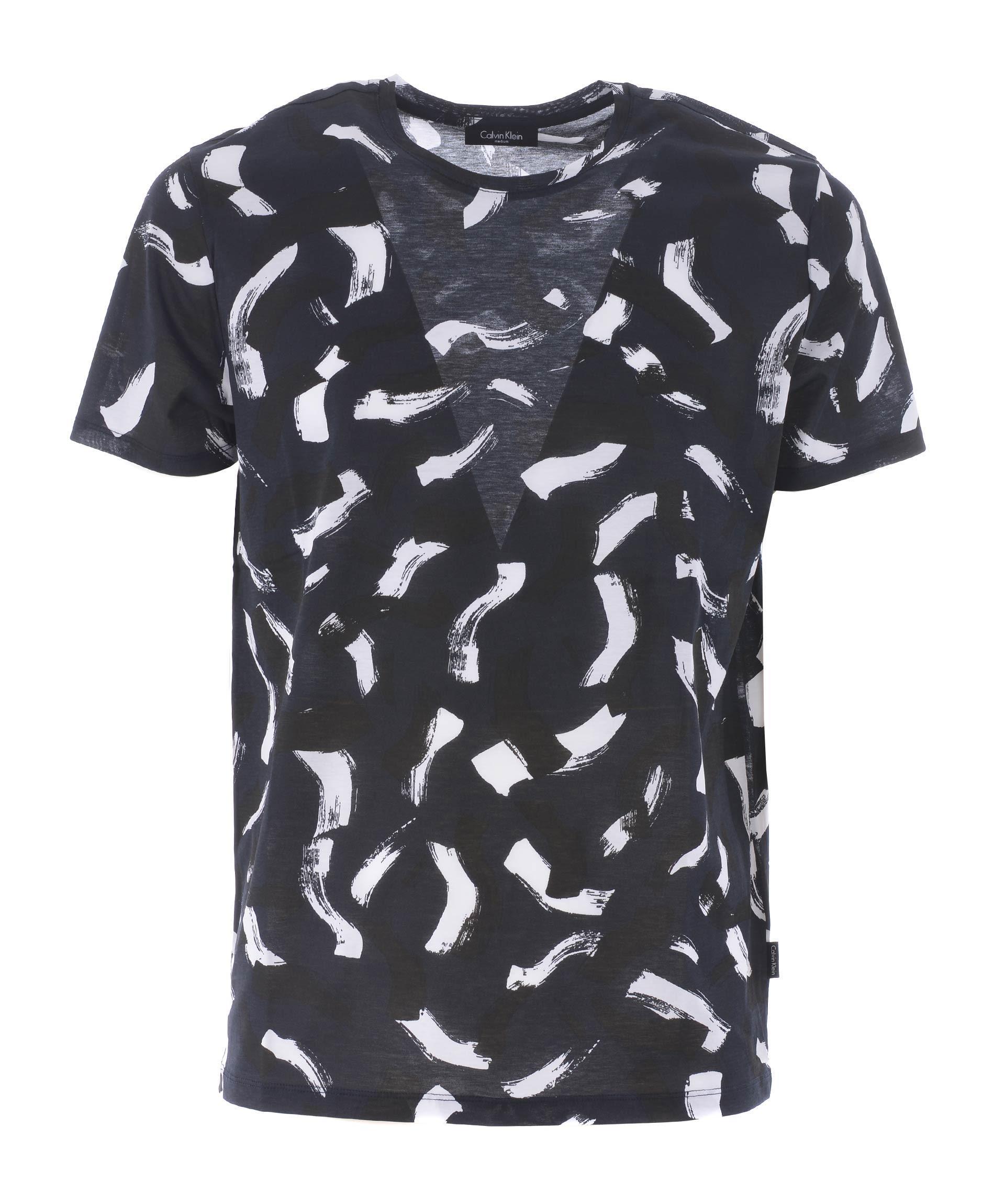 Calvin Klein Printed T-Shirt In Blu Scuro
